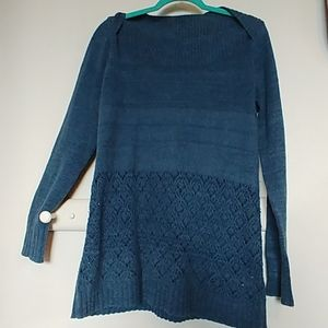 Exoffico boatneck soft tunic sweater teal